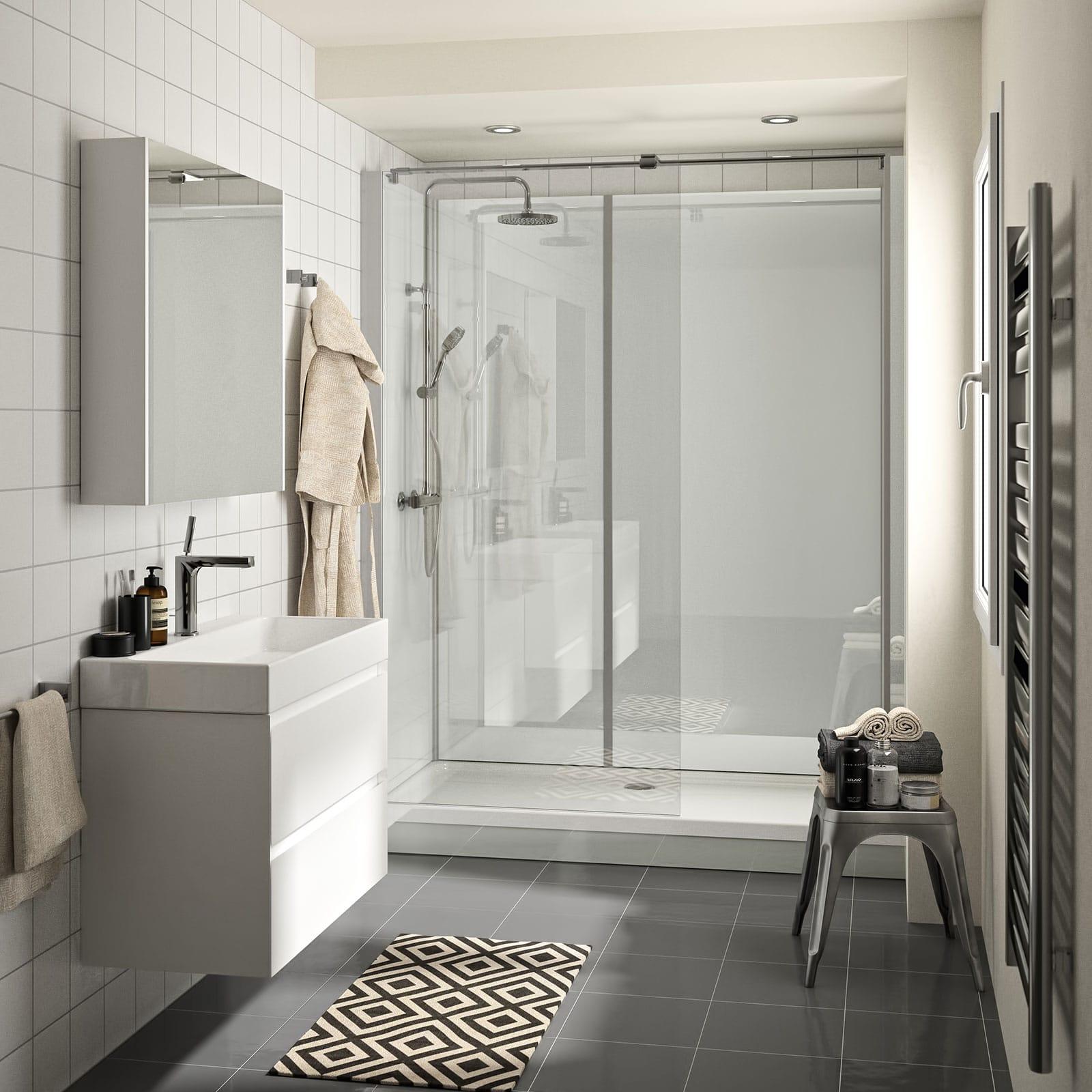 Raum im Wandel Teilsanierung Dusche auf Wanne