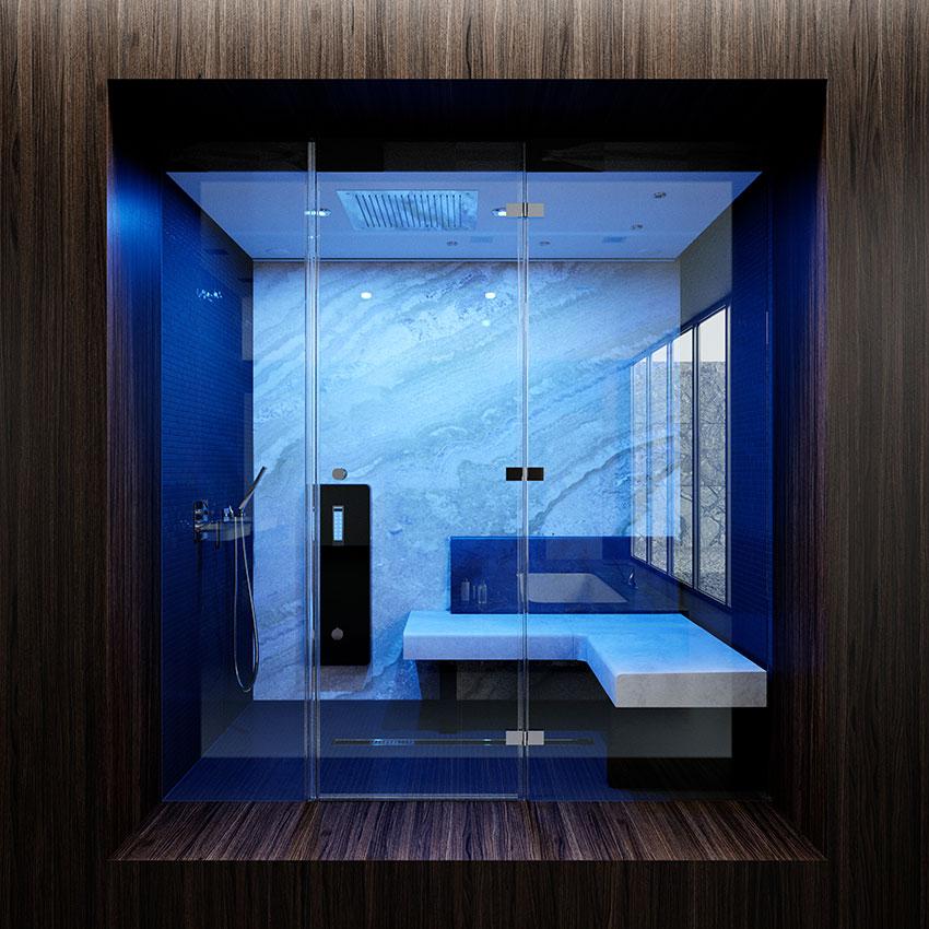 Badgestaltung van der Rohe Dampfbad Marmor