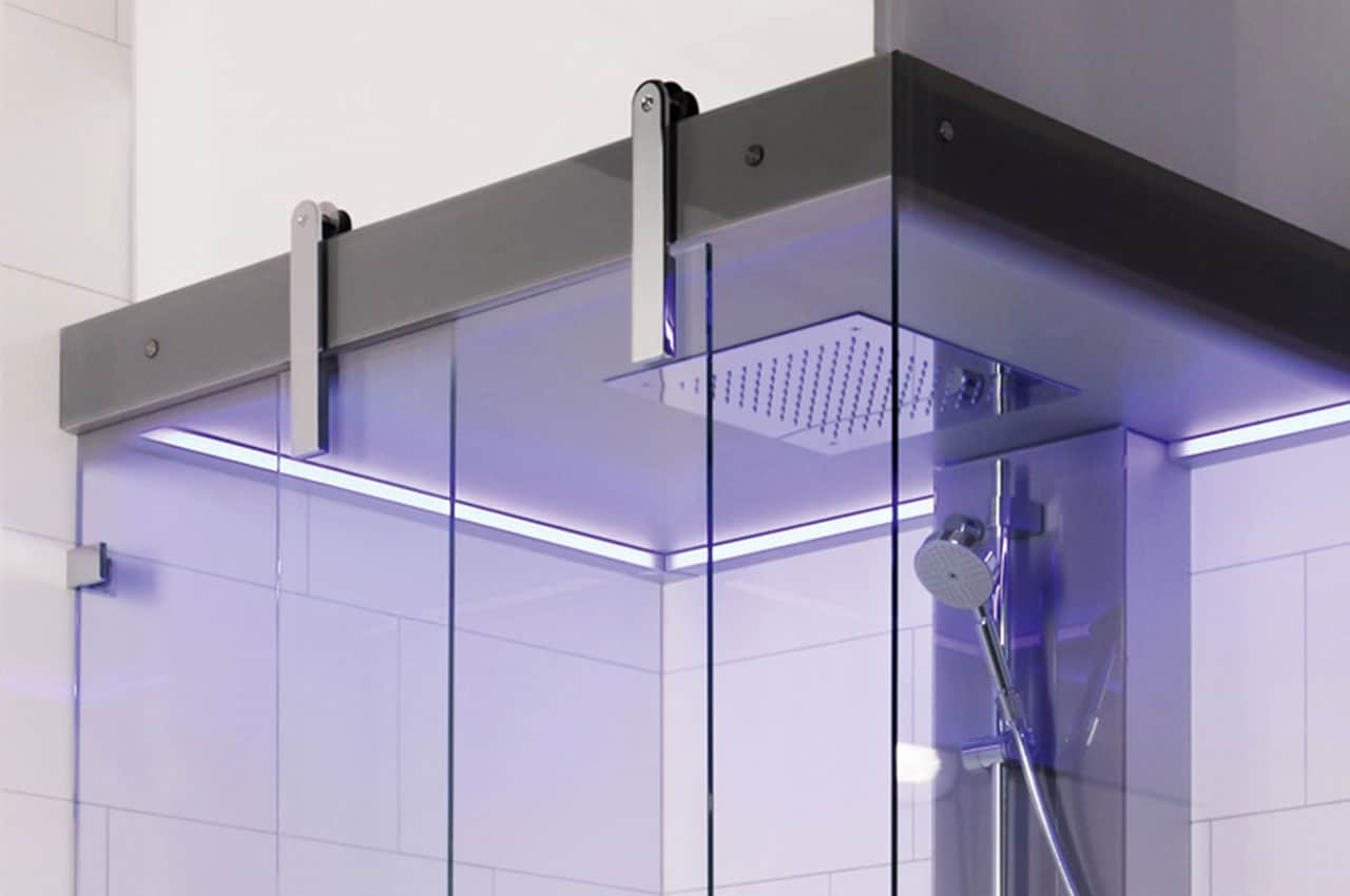 Steam Door For Recessed Ceilings With A Sliding Steam Shower