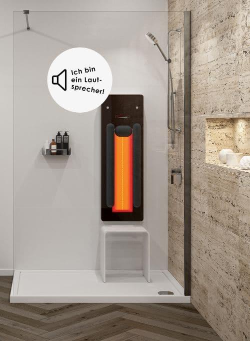 Infrarotpaneel mit Lautsprecher Musik im Bad